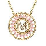 Suplight Damen Kette Runde Anhänger Zirkonia Buchstabe M Alphabet Charm Halskette 18k Vergoldet Kettenanhänger für Frauen Mädchen