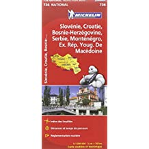 Carte NATIONAL Slovnie, Croatie, Bosnie-Herzgovine, Serbie et Montngro, Macdoine