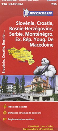 Carte NATIONAL Slovnie, Croatie, Bosnie-Herzgovine, Serbie et Montngro, Macdoine par Collectif Michelin