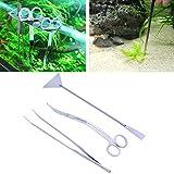 Lunji 3-teilig Aquascaping-Aquarien Kit Edelstahl–Babykleidung Zangen und Schere Pfannenwender für Wasserpflanzen