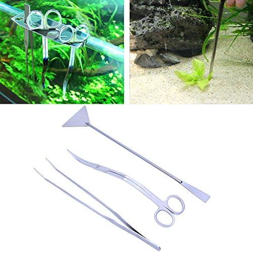Lunji 3-teilig Aquascaping-Aquarien Kit Edelstahl-Babykleidung Zangen und Schere Pfannenwender für Wasserpflanzen