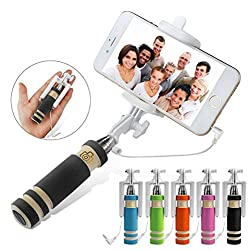 Unifree Selfie Stick-mini with Aux cable for Iphone, Android, window phone, No bluetooth, No charging required (assorted Colors)