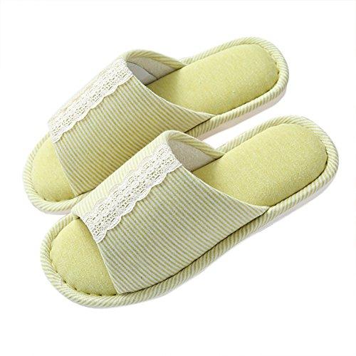 Pantofola Comfort Di Vwu Strisce Verde Unisex Toe Pizzo Pantofole Casa Slittamento Di Pizzo Cotone Casa Nastro Di Donna Uomo Open rvxnavH