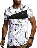 LEIF NELSON Herren Jungen Männer T-Shirt Hoodie Sweatshirt Crew Neck Rundhals Ausschnitt Kurzarm Longsleeve modernes Basic Shirt Vintage Baumwolle-Anteil LN920; Größe XXL, Weiss