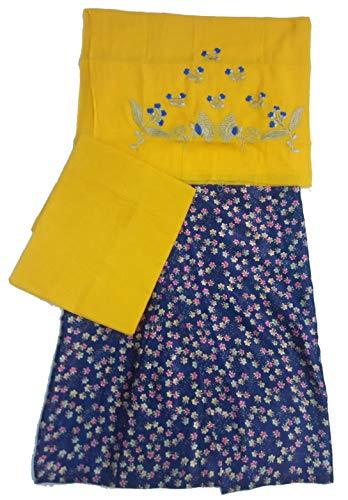 Advait Cotton Rajputi Poshak UnStitched (Yellow-Blue)