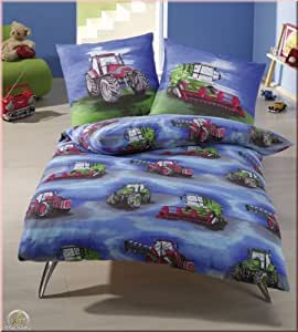 edle biber bettw sche 135x200 traktor trecker blau k che haushalt. Black Bedroom Furniture Sets. Home Design Ideas