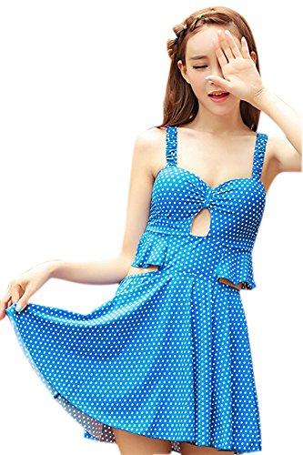 Frauen Dot Print Badeanzug Badeanzug Strandkleid (Dots Badeanzug)