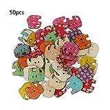 Lamdoo 50Gemischt Holz Schmetterling Elefant Kaninchen Knöpfe Zum Annähen 2Löcher, Holz, Verschiedene Farben, Elephant:2 X 3 cm/0.79