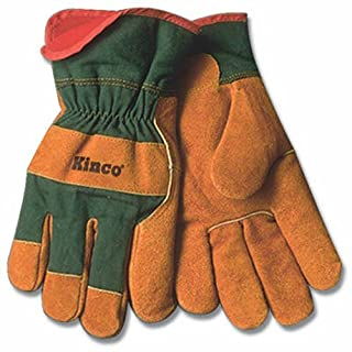 KINCO 1721GR-XL Men's Lined Leather Palm Gloves, Suede Cowhide, Green Fabric Back, X-Large, Russet by KINCO INTERNATIONAL