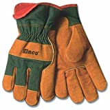 KINCO 1721GR-L Men's Lined Leather Palm Gloves, Suede Cowhide, Green Fabric Back, Large, Russet by KINCO INTERNATIONAL