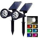 PowerKing 2pcs Solar Gartenlampe LED, Solarleuchte Außenleuchte Bunte Niederspannung Solarbetriebe Outdoor Wandlampe mit Erdspieß für Garten, Rasen, Hinterhof
