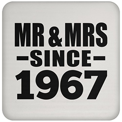 Designsify Jahrestag Untersetzer, MR & MRS seit 1967–Untersetzer, Untersetzer, beste Geschenk für Hochzeit, Verabredungen Verlobungsring von Mann, Frau, Freund, Freundin