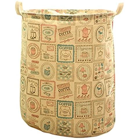 QHGstore Cesti coulisse fascio porta pieghevole lavanderia Hamper sacchetto di stampa dei vestiti Barrel bagagli Tè e caffè