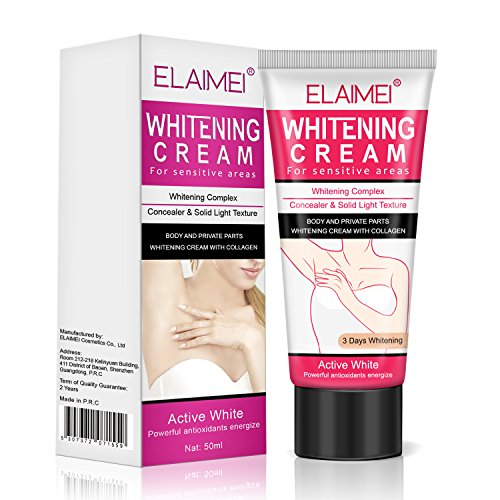 Whitening Cream for Sensitive Areas, Underarm Whitening Cream Body Cream Armpit Elbow Lightening Bikini 60 ML
