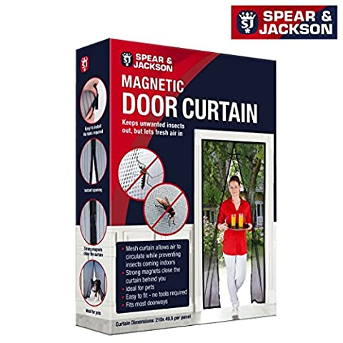 SPEAR & JACKSON Magnetic Door Curtain Screen to Keep Flies and Insects Out, Keeps Pets Out and In - Strong Magnet Mesh Curtain Allows Air to Circulate While Keeping bugs Out - 210cm Drop x 49.5cm Across Per Panel - Out Pannello