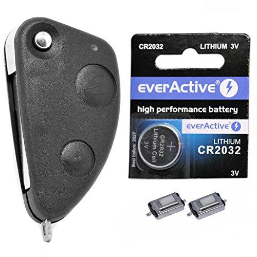 Repair Reparatur Satz Klapp Auto Schlüssel Gehäuse 2 Tasten Rohling 2X Drucktasten 1x CR2032 Batterie für ALFA Romeo