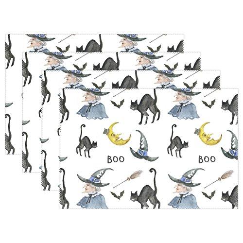 lloween-Hexe und Schwarze Katzen-Hintergrund, hitzebeständig, schmutzabweisend, Rutschfest, waschbar, Polyester, 30,5 x 45,7 cm, Polyester-Mischgewebe, Muticoloured, 4er-Set ()