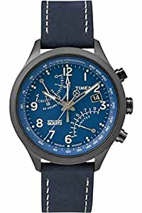 Timex Men's Quartz Watch with Blue Dial Analogue Display and Blue Leather Strap T2P380AU