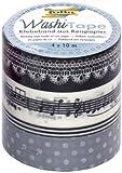 Folia 26402 Washi Tape Melody - Cinta adhesiva decorativa (juego de 4 unidades)