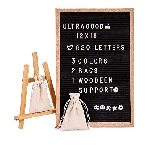 Brief Board Board Filz mit 920 Stück austauschbare Buchstaben & schöne Emojis 12 x 18 Zoll Eiche Massivholz dekorative Display Board mit Metall Haken an der Wand montiert (12 * 18 Black) - 18 Haken Aus Metall