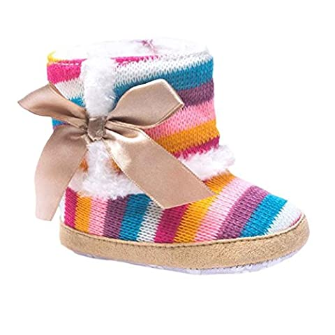 Saingace® Baby Girl Rainbow Soft Sole Snow Boots Soft Crib Shoes Toddler Boots (2UK)