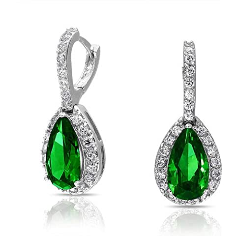 Bling Jewelry Bridal Emerald Colore CZ Teardrop lampadario orecchini Snap post