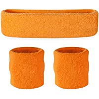 Conjunto deportivo de cinta para la cabeza y muñequeras Suddora, hombre, naranja fluorescente