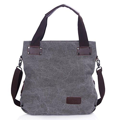Minetom Damen Canvas Schultertasche Casual Umhängetasche Handtasche Für Einkaufen Reisen Grau