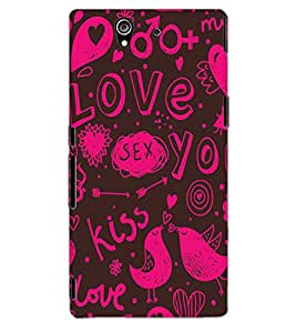 ColourCraft Love Pattern Design Back Case Cover for SONY XPERIA Z1