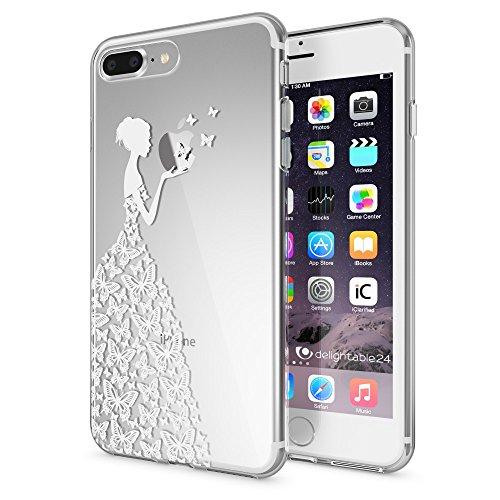 NALIA Handyhülle kompatibel mit iPhone 8 Plus / 7 Plus, Slim Silikon Motiv Handy-Case Crystal Schutz-Hülle Dünn Durchsichtig, Etui Back-Cover Schale Transparent Bumper, Designs:Butterfly Princess