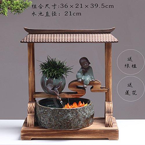 Powzz Ornament Büro Feng Shui, Geld, Wasser, Verzierungen, Steingarten  Brunnen, Aquarium, Laufendes Geschäft, Schenkungssteuer, 36 * 19 * 38Cm,  Hof Wasser  ...
