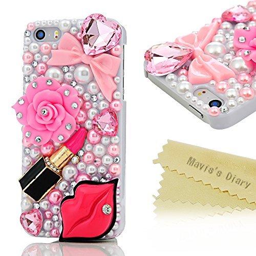 iPhone SE Fall, iPhone 5S Fall, iPhone 5Fall-Mavis 's Diary 3D Handmade Bling Kristall Schöne Violett Blumen mit rosa und lila Big Sparkle Diamanten Strass Clear Case Hart PC Cover, farblos