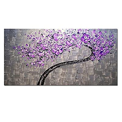 XrsArt Living Room Hall Wall Art Handmade Landscape Oil Paintings on Canvas Silver Purple Tree Pictures for Living Room Home Decor (on canvas) ,unframed dha223 20x39 inch