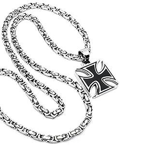 Edelstahl Herren Anhänger Eisernes Kreuz Ritterkreuz schwarz silber massiv + 60cm Königskette Bikerschmuck