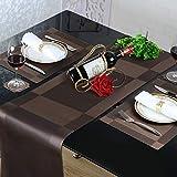 Tischläufer und Tischsets Rutschfest Abwaschbar PVC Platzdeckchen Set von 6 mit Passenden Tischläufer für Küche Zuhause Restaurant Speisetisch 30 x 180 cm - 3