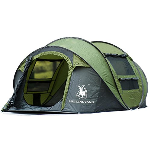 Cloudwhisper 3-4 personnes automatique Open Air Speed Jeu Pop Up Tente de plage imperméable coupe-vent Tente Grand espace, vert militaire
