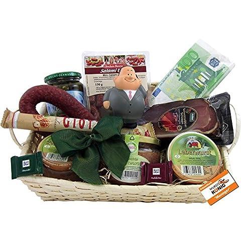 Chef & Manager Geschenk-Korb Präsentkorb (6084) mit Delikatessen und Süßigkeiten, antistress Chef-Figur Knautschi SQUEEZIES®