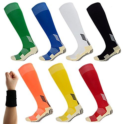 Dee Plus Rutschfeste Fußball Socken Stutzenstrümpfe Kompression Basketballsocken/Yoga Socken Noppen Sohle Damen & Herren Socken Anti Rutsch Socken Stoppersocken Noppensocken knielänge -