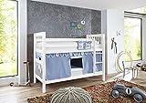 RELITA Etagenbett WICKY Buche massiv l weiß lackiert l Textilset Boys l Blau Weiß