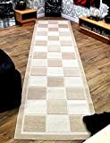 [Extra Long] and [Extra Wide] Modern Check Pattern Contemporary Cream & Beige Hallway Hall Rug Carpet Runner 80cm x 340cm