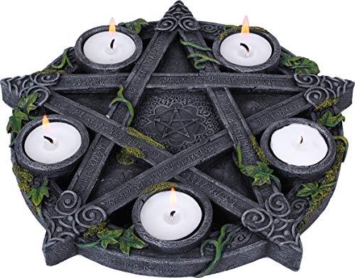 Nemesis Now Wiccan Pentagramm Teelichthalter, Kunstharz, 28 cm, Schwarz, Einheitsgröße