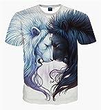 Pizoff Unisex Digital Print T Shirts mit Löwen 3D Muster, Y1625-14, M