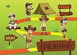 12 Einladungskarten zum Kindergeburtstag Abenteuer-Party / Schatzsuche / Outdoor / Einladungen zum Geburtstag für Mädchen und Jungen