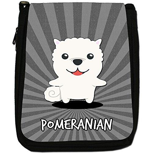 Tedesco Cartoon cani medium nero borsa in tela, taglia M Pomeranian, Deutscher Spitz