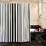 ZLYAYA-Simple y elegante cuarto de baño PEVA Opacidad Moldproof impermeable no tóxicos Non-Smelling cortina de ducha con 12 Hooks-Black y patrón de rayas blancas 180*180 cm