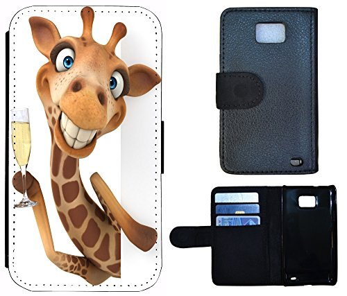 Flip Cover Schutz Hülle Handy Tasche Etui Case für (Apple iPhone 4 / 4s, 1176 Giraffe Animiert Braun Weiß) 1176 Giraffe Animiert Braun Weiß
