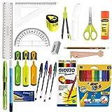 Blumie Shop Pack Eco Fournitures Scolaires 21 pièces spécial collège - Vert + 1 Règle Marque-Page en Bois