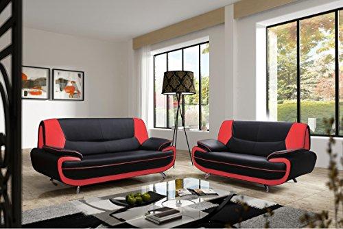 Mobilier Deco Ensemble canapé 3+2 plces Noir et Rouge Design MUZA