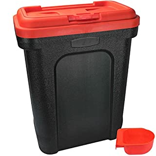 ASAB Dry Pet Food Storage Container - Top Flip Bin Lid with Scoop - Red - Large