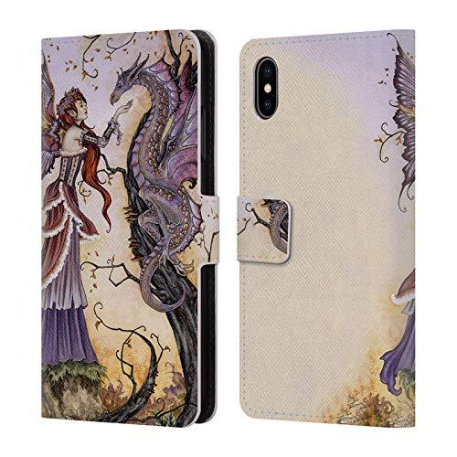 Head Case Designs Offizielle Amy Brown Drachen-Charmeur Fantasy Brieftasche Handyhülle aus Leder für iPhone XS Max